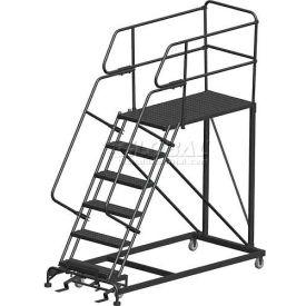"6 Step Heavy Duty Steel Mobile Work Platform W/ Handrails - 24"" x 60"" Platform"