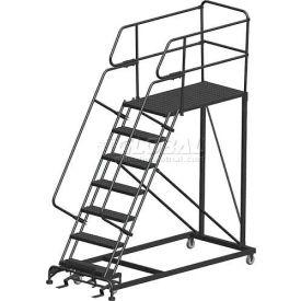 "7 Step Heavy Duty Steel Mobile Work Platform W/ Handrails - 36"" x 36"" Platform"