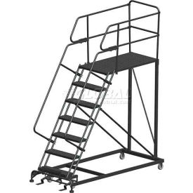 "7 Step Heavy Duty Steel Mobile Work Platform W/ Handrails - 36"" x 48"" Platform"