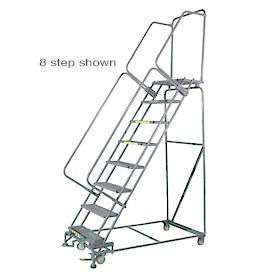"""9 Step 24""""Wx77""""D Stainless Steel Rolling Safety Ladder - Perforated Tread"""