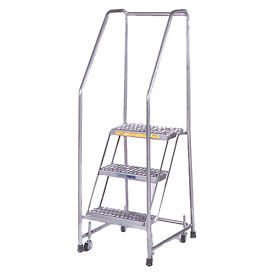"""3 Step 24""""W Stainless Steel Rolling Ladder W/ Rails - Heavy Duty Serrated Grating"""