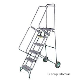 """11 Step 16""""W Stainless Steel Fold and Store Rolling Ladder - Heavy Duty Serrated Grating"""