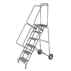 """6 Step 16""""W Stainless Steel Fold and Store Rolling Ladder - Perforated Tread"""