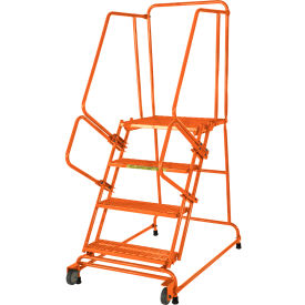 Ballymore 4 Step Steel Orange Tilt And Roll Ladder with Serrated Grating - TR-4-G-O