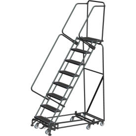 "7 Step Steel All-Directional Safety Rolling Ladder Weight Actuated Lock 16"" Perf. Step-WA-AD-072414P"