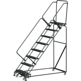 """8 Step Steel Safety Stairway Slope Rolling Ladder Weight Actuated Lock 24""""W Serr. Step-WA-SW83214G"""