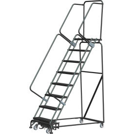 "9 Step Steel Safety Rolling Ladder W/ Weight Actuated Lock Step 24""W Expanded Step - WA093214X"