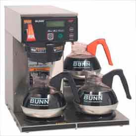 Axiom™ 12 Cup Digital Dual-Voltage Coffee Brewer w/ LCD, 3 Lower Burners
