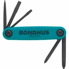 """Bondhus 12545 Set 5 Utility Fold-up Tools #1, #2 Phillips / 1/8"""",..."""
