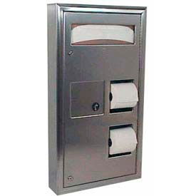 Bobrick® ClassicSeries™ Partition Mount Seat/Tissue Dispenser/Disposal - B-3579
