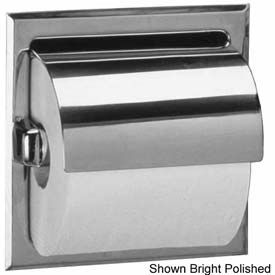 Bobrick® 600 Series Recessed Single Tissue Dispenser w/ Hood - Satin - B6697