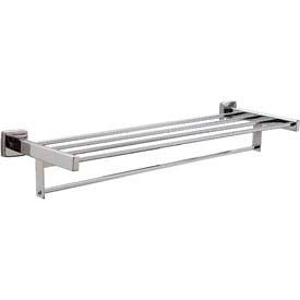 "Bobrick® Surface Mounted Towel Shelf w/ Towel Bar - 24""W Bright Polished - B676x24"