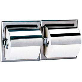 Bobrick® 600 Series Recessed Double Tissue Dispenser w/Hoods-Bright Polish - B699