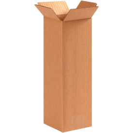 "Tall Cardboard Corrugated Boxes 4"" x 4"" x 12"" 200#/ECT-32 - Pkg Qty 25"