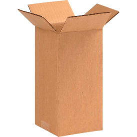 "Tall Cardboard Corrugated Boxes 5"" x 5"" x 10"" 200#/ECT-32 - Pkg Qty 25"