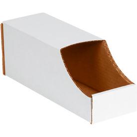 "4"" x 12"" x 4-1/2"" Stackable White Corrugated Bin Box - BINB412 - Pkg Qty 50"