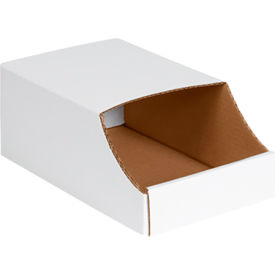 "7"" x 12"" x 4 1/2"" Stackable White Corrugated Bin Boxes"