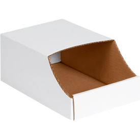 "8"" x 12"" x 4-1/2"" Stackable White Corrugated Bin Box - BINB812 - Pkg Qty 50"