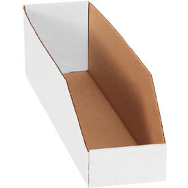 "4"" x 18"" x 4-1/2"" Open Top White Corrugated Bin Box - Pkg Qty 50"