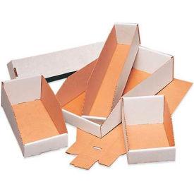 """8"""" x 15"""" x 4-1/2"""" Open Top White Corrugated Bin Boxes - Pkg Qty 50"""