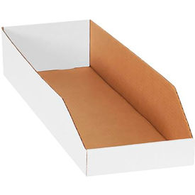 "8"" x 24"" x 4-1/2"" Open Top White Corrugated Bin Boxes - Pkg Qty 50"