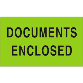 "Documents Enclosed 3"" x 5"" Labels Green 500 Per Roll"