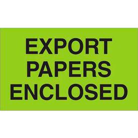 "Export Papers Enclosed 3"" x 5"" Labels Green 500 Per Roll"