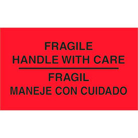 """Fragile Handle with Care 3"""" x 5"""" Bilingual Labels Fluorescent Red 500 Per Roll"""