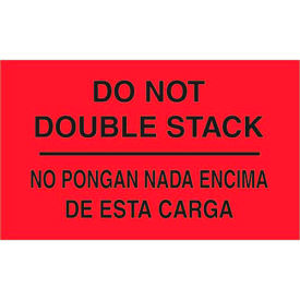 """Do Not Double Stack 3"""" x 5"""" Bilingual Labels Fluorescent Red 500 Per Roll"""