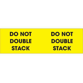 "Do Not Double Stack 3"" x 10"" Pallet Corner Labels Fluorescent Yellow 500 Per Roll"