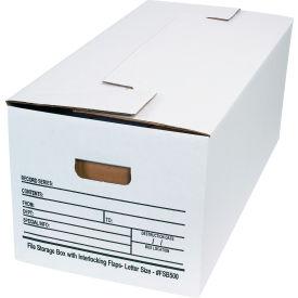 """Interlocking Flap File Storage Box FSB500 - Letter 24""""L x 12""""W x 10""""H White Price Each - Pkg Qty 12"""