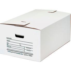 """Interlocking Flap File Storage Box FSB550 - Legal 24""""L x 15""""W x 10""""H White, Price Each - Pkg Qty 12"""