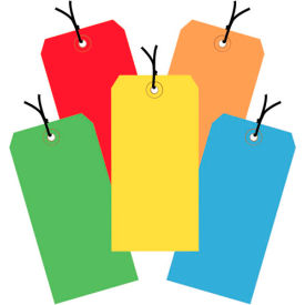 """13 Pt. Shipping Tags, Pre-Strung, #5, 4-3/4"""" x 2-3/8"""", Assorted Colors - 1000 Pack"""