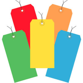 """Pre-Wired Shipping Tags, 6-1/4"""" x 3-1/8"""" Assorted Colors - 1000 Pack"""