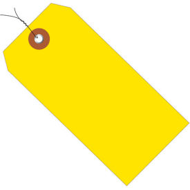 "Plastic Shipping Tag Pre-Wired 4-3/4"" x 2-3/8"" Yellow - 100 Pack"