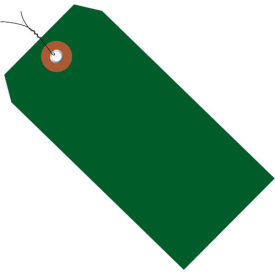 """Plastic Shipping Tag Pre-Wired 4-3/4"""" x 2-3/8"""" Green - 100 Pack"""