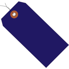"Plastic Shipping Tag Pre-Wired 4-3/4"" x 2-3/8"" Blue - 100 Pack"