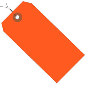 """Plastic Shipping Tag Pre-Wired 6-1/4"""" x 3-1/8"""" Orange - 100 Pack"""