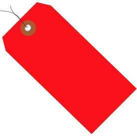 "Plastic Shipping Tag Pre-Wired 6-1/4"" x 3-1/8"" Red 100 Pack"