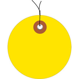 """Pre-Wired Plastic Circle Tags 2"""" Diamter Yellow - 100 Pack"""