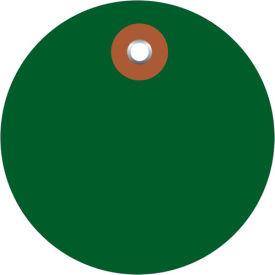 """Plastic Circle Tags 2"""" Diamter Green - 100 Pack"""