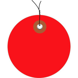 """Pre-Wired Plastic Circle Tags 3"""" Diamter Red - 100 Pack"""