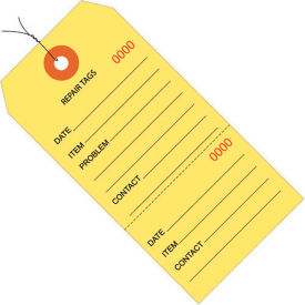 "Consecutively Numbered Repair Tags - Pre-Wired 4-3/4"" x 2-3/8"" Yellow - 1000 Pack"