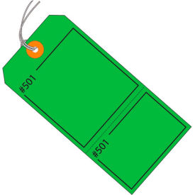 """Consecutively Numbered Claim Tag - Pre-Strung 4-3/4"""" x 2-3/8"""" Green - 1000 Pack"""