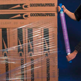 "Goodwrappers® Purple Stretch Wrap 15"" x 1000' x 80 Gauge with Dispenser - Pkg Qty 4"