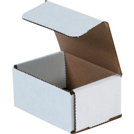 """Corrugated Mailers 4"""" x 3"""" x 2"""" 200#/ECT-32 White - Pkg Qty 50"""