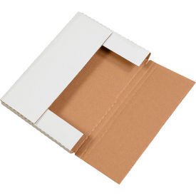 """Easy-Fold Corrugated Mailers 9-5/8"""" x 6-5/8"""" x 1-1/4"""" 200#/ECT-32 White - Pkg Qty 50"""