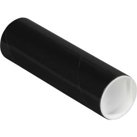"""Colored Mailing Tubes with Caps 2"""" x 6"""", 0.06"""" Thick, Black - Pkg Qty 50"""