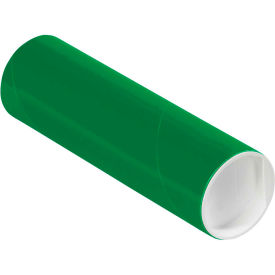 """Colored Mailing Tubes with Caps 2"""" x 6"""", 0.06"""" Thick, Green - Pkg Qty 50"""