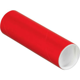 """Colored Mailing Tubes with Caps 2"""" x 6"""", 0.06"""" Thick, Red - Pkg Qty 50"""